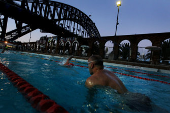 Early morning swimmers do laps in the North Sydney Pool. The ageing pool requires a facelift.