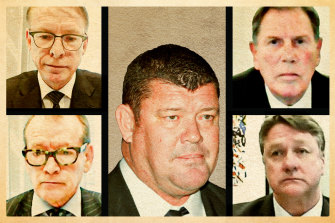 The question of James Packer's influence has long hung over Crown. James Packer (centre), with (clockwise from top left) Ken Barton, Guy Jalland, Michael Johnston, and John Alexander.