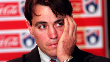 Justin Charles faces the press over his steroid use in August 1997.