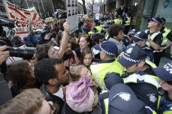 Student clashes at Melbourne University in protest over higher education reforms in 2014.