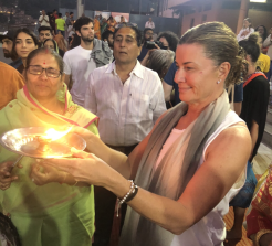 Deborah Hutton during a religious ritual in India last year.