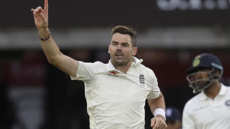 Still got it: James Anderson celebrates one of his five wickets on day two.