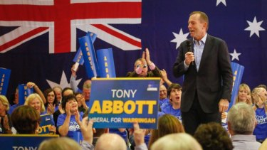 Tony Abbott at the launch of his ninth campaign for the seat of Warringah in 2016.
