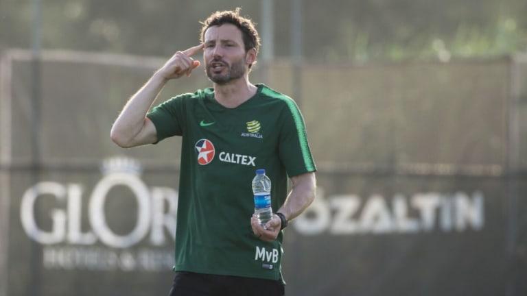 Bert's legion: Assistant Mark van Bommel gets his message across at training.