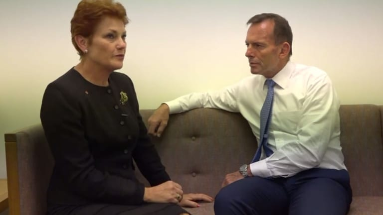 Pauline Hanson blamed Tony Abbott for her imprisonment but he dropped by her office upon her re-election to federal Parliament.