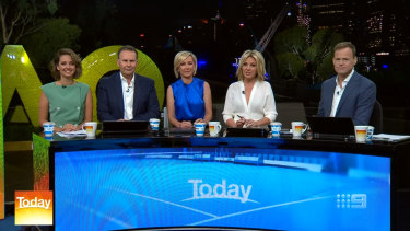 Nine's new Today team: Brooke Boney, Tony Jones, Deb Knight, Georgie Gardner and Tom Steinfort.