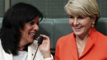 Julia Banks and Julie Bishop in Parliament in September.