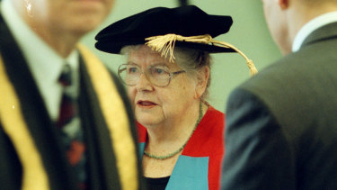 Freda Whitlam prepares before accepting an honorary doctorate at the UNWS, Parramatta Campus