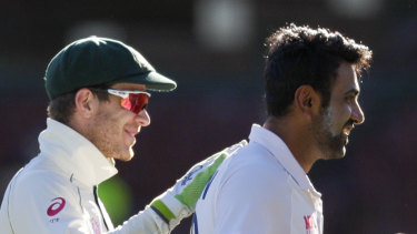 Tim Paine congratulates Ravi Ashwin after the Sydney Test. The pair had a heated exchange on the last day.