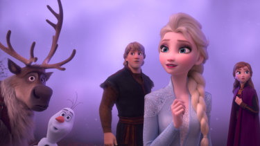 Elsa, Anna, Kristoff, Olaf and Sven journey far beyond the gates of Arendelle in search of answers in Frozen II.