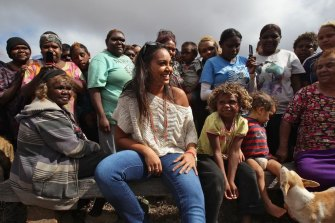 Jessica Mauboy during her performance at Watson on The Nullabor Plain in South Australia for children from Oak Valley Aboriginal School in 2011.