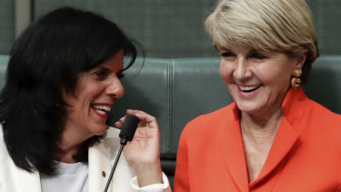 Julia Banks and Julie Bishop in Parliament in September.