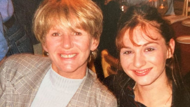 Trish McMahon with Sarah in 1999.