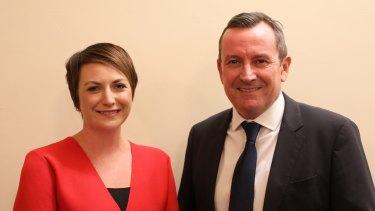 WA Labor's Albany candidate Rebecca Stephens and Premier Mark McGowan.