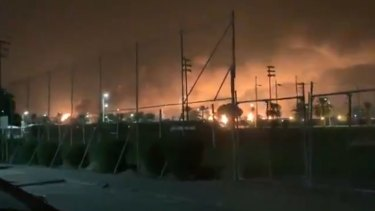 A screengrab from a video of the explosions in Buqyaq, Saudi Arabia, posted by a Saudi journalist.