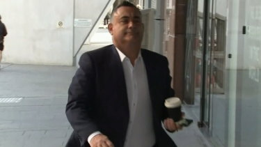 John Barilaro arrives for the Nationals party room meeting on Friday morning.
