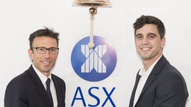 Afterpay co-founders Anthony Eisen and Nick Molnar at the ASX float in May 2017.