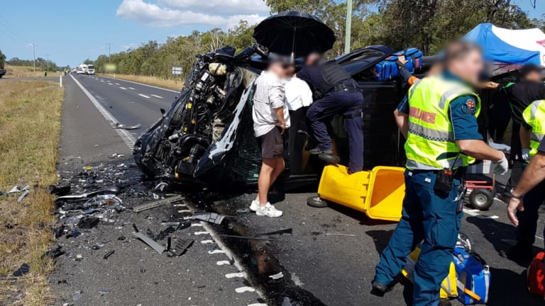 Two people died after a two-car crash in South Isis near Bundaberg on the central Queensland coast.