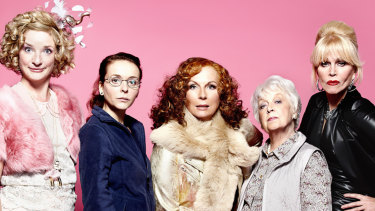 The cast of Absolutely Fabulous (L-R)Bubble (Jane Horrocks), Saffy (Julia Sawalha), Edina (Jennifer Saunders), Mother (June Whitfield) and Patsy (Joanna Lumley).
