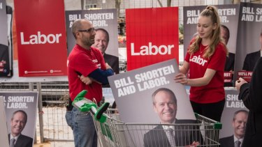 Volunteers outside the venue of the ALP's ill-fated official campaign launch.
