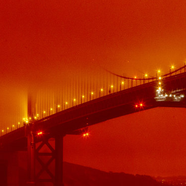 California's wildfires sent San Francisco's Golden Gate Bridge into daytime darkness on September 9.