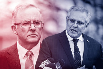 Opposition Leader Anthony Albanese and Prime Minister Scott Morrison. Labor is gaining ground on the most important question voters are likely to face at the next election: Which side can find a way out of this pandemic?