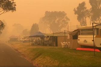 A caravan park in Mallacoota on Thursday morning.