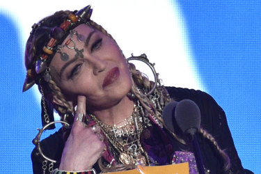 Madonna at the MTV Video Music Awards in 2018 in New York.
