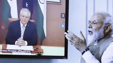 Narendra Modi and Scott Morrison held a virtual summit last month.