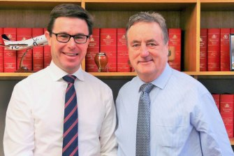 Minister for Water Resources David Littleproud with interim Inspector-General Mick Keelty.