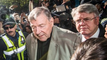 George Pell arrives at the County Court in Melbourne on Wednesday.