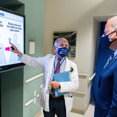 """Fauci briefs President Joe Biden, who told him, """"We're going to let science rule"""" in fighting COVID."""