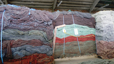 Fishing nets awaiting processing into Econyl thread.
