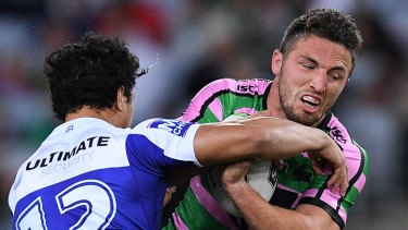Sam Burgess carts the ball forward before suffering a hamstring injury.