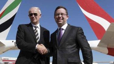 Tim Clark and Alan Joyce announcing the Emirates and Qantas partnership in 2012.