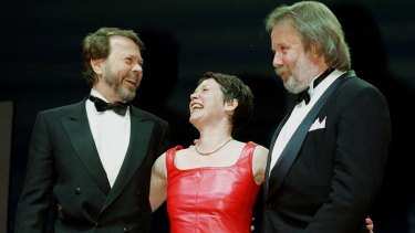 Former ABBA members Bjorn Ulvaeus, left, and Benny Andersson with actress Catherine Johnson at a performance of the musical Mamma Mia! in London.