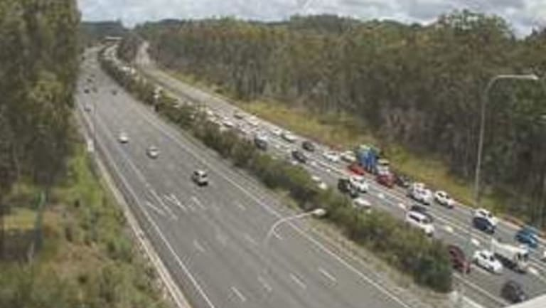 Northbound M1 congestion stretched six kilometres by 12.30pm and remained heavy for several hours.