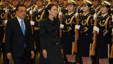 China rolled out the welcome mat for Prime Minister Jacinda Ardern on her first visit to Beijing. Premier Li Keqiang greeted her at the Great Hall of the People, complete with military guards of honour.
