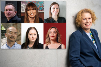 Next in line to replace Liz Ann Macgregor (far right) at the MCA? Clockwise from top left: Blair French, Maud Page, Rachel Kent, Clothilde Bullen, Alexie Glass-Kantor and Aaron Seeto.