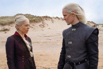 Emma D'Arcy as the older Princess Rhaenyra Targaryen, with Matt Smith as Prince Daemon Targaryen.
