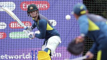 Australia coach Justin Langer bowls to Steve Smith during the nets session at Edgbaston, Birmingham.