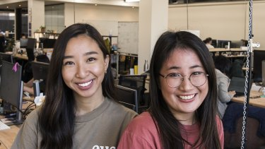 Davina Adisusila and Jenny Chu, engineers at Eucalyptus. Story is about women who build startups - the engineers behind the companies.
