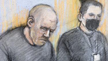 This court artist sketch shows serving police constable Wayne Couzens, left, appearing in the dock at Westminster Magistrates' Court in Londonin March.