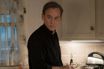 Father Dan Hastings (Neal Huff) is Mare's cousin. But family ties are no guarantee of innocence in this drama.