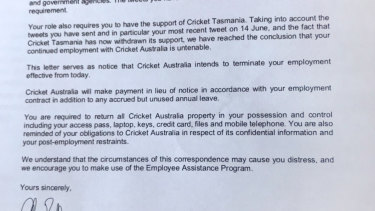 Terminated: Cricket Australia's letter to Angela Williamson.