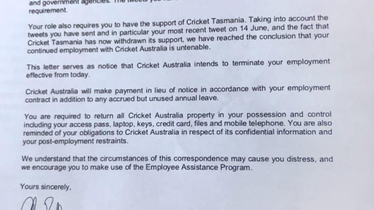 Terminated: Cricket Australia's letter to Angela Williamson.