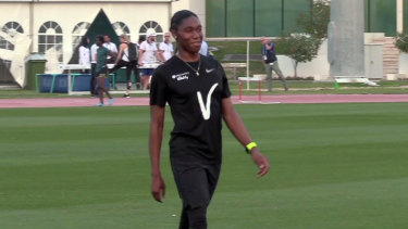Caster Semenya smiles during a training session in Doha ahead of the Diamond League.