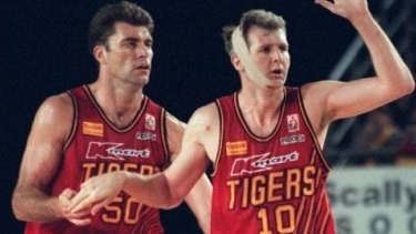 Mark Bradtke (left) and Andrew Gaze during their days at Melbourne Tigers.