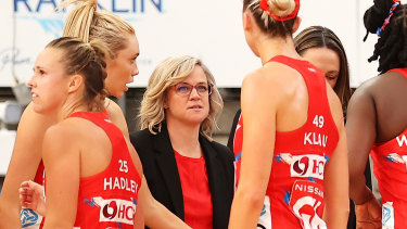 Swifts coach Briony Akle addresses her troops.