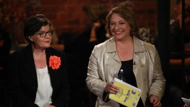 Cathy McGowan and Sophie Mirabella during the 2016 election campaign.